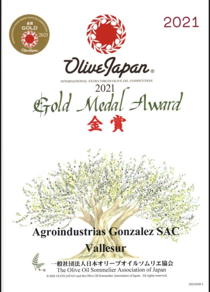Olive Japan 2021 Gold medal award